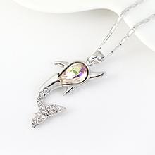 奥地利水晶项链--小鲸鱼(夜光绿)