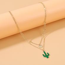 韩版简约气质大牌时尚个性ins潮仙人掌双层项链(绿色)