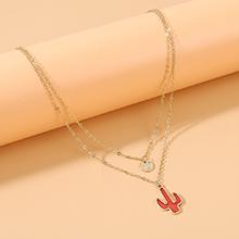 韩版简约气质大牌时尚个性ins潮仙人掌双层项链(红色)