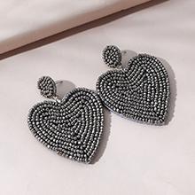 韩版时尚创意个性米珠耳环(深灰)