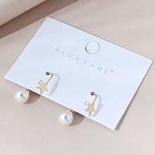 欧美镀真金复古时尚百搭小仙女创意珍珠耳环