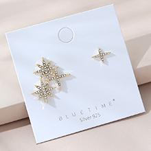 欧美镀真金百搭小众时尚流行风靡不对称满天星S925银针