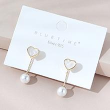 韩版镀真金小仙女时尚创意百搭小众流行小爱心珍珠S925银针