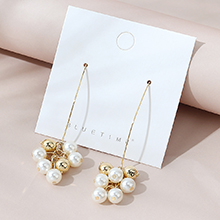 韩版镀真金复古创意个性夸张珍珠耳环