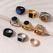 韩版创意百搭个性夸张复古戒指套装(随机一款)