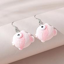 韩版创意小清新百搭流行可爱小丑鱼耳环(粉色)