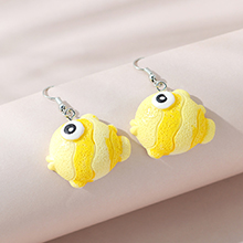韩版创意小清新百搭流行可爱小丑鱼耳环(黄色)