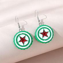 欧美创意时尚流行爆款ins潮美国队长盾牌耳环(绿色+红色)