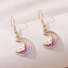 欧美小众小清新百搭时尚甜美小月亮耳环(紫色)