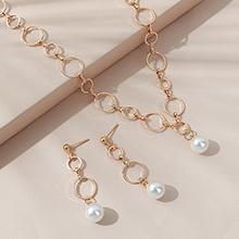 韩版简约复古时尚百搭珍珠耳环项链套装